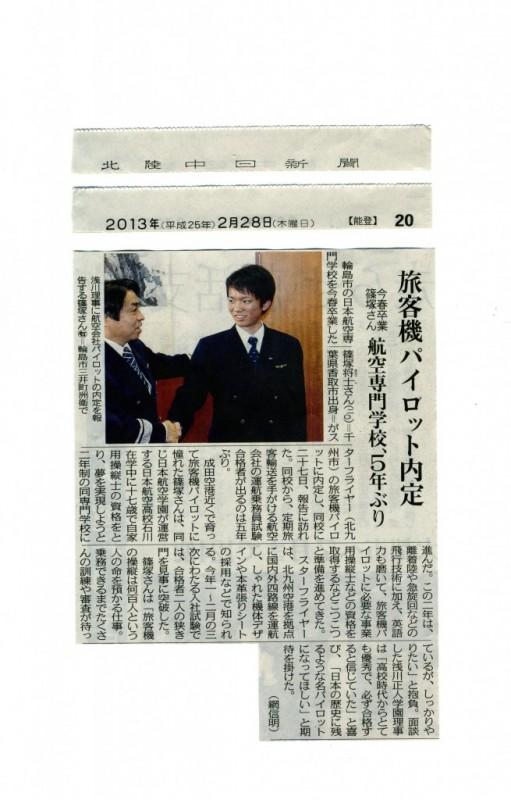 北陸中日新聞篠塚将士